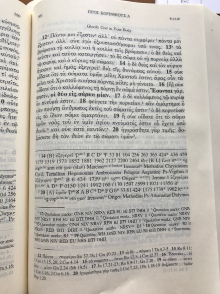 Greek Bible showing apparatus.